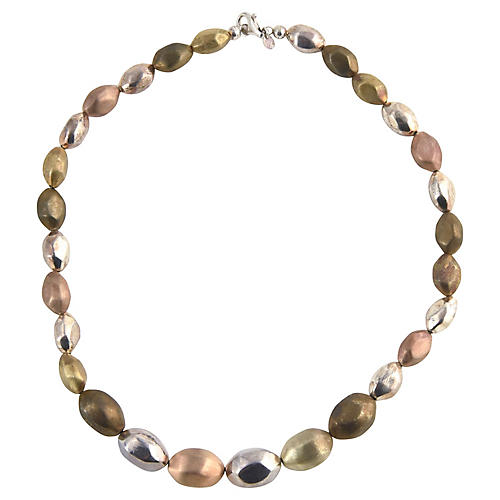Sterling Multicolor Metal Bead Necklace