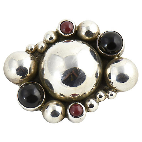 Gemstone & Sterling Bubble Brooch