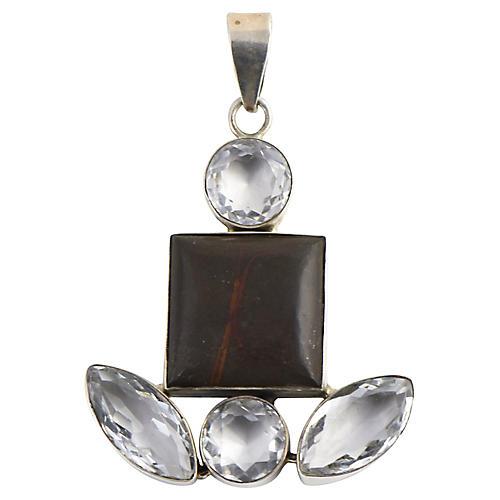 Agate & White Topaz Silver Pendant