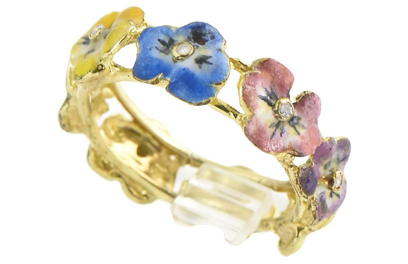 Antique Enamel & Diamond Pansy Ring