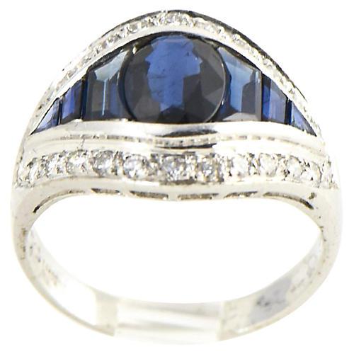 Deco-Style Sapphire & Diamond Ring