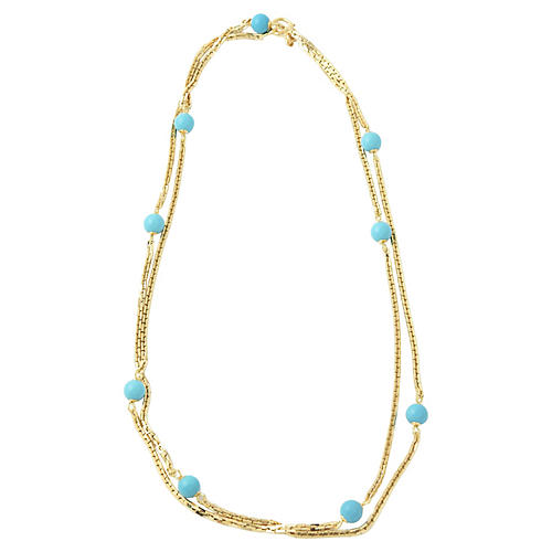 "36"" Turquoise Bead & Gold Necklace"