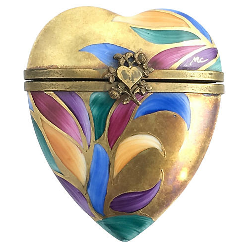 Limoge Abstact Floral Heart Rochard Box