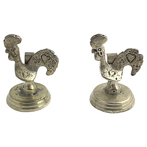 2 Rooster Menu / Placecard Holders