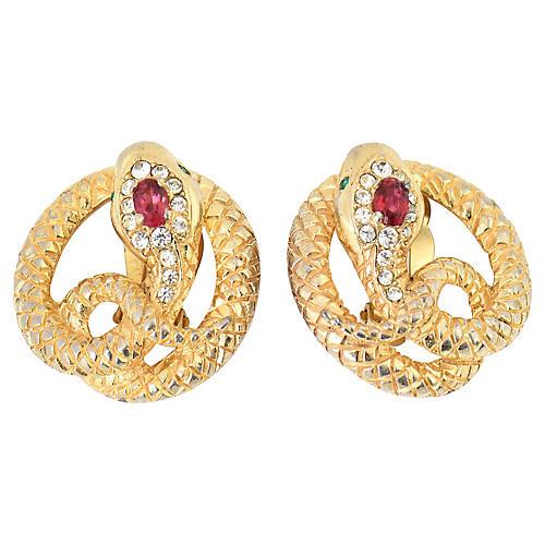 Castlecliff Gilt Crystal Snake Earrings