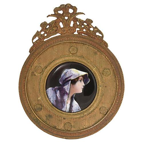 Antique Framed Enamel Portrait