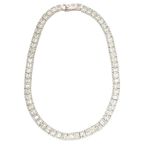 Crystal & Sterling Cocktail Necklace