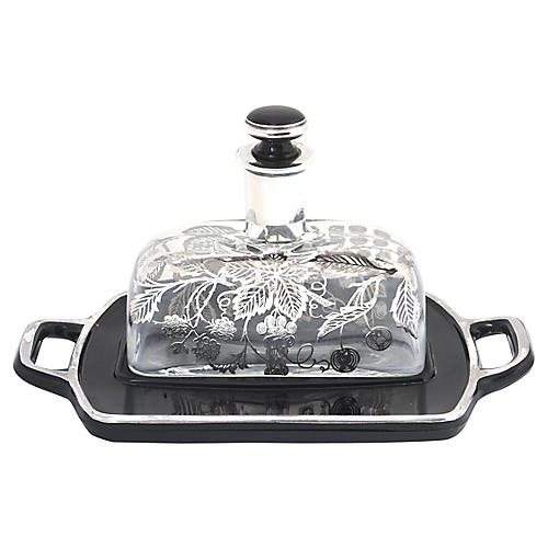 Sterling Overlay Perfume Bottle & Tray