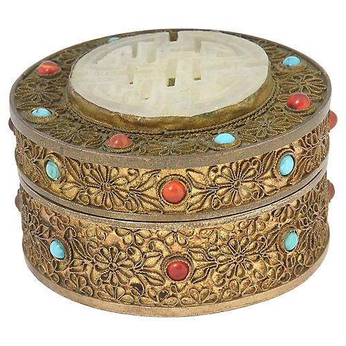 Asian Jeweled Gilt-Brass Trinket Box