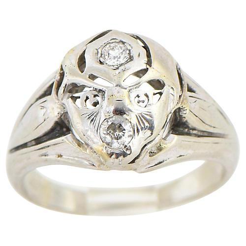 White Gold & Diamond Face Ring