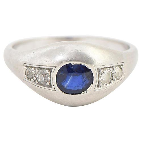 Deco Sapphire, Diamond & Platinum Ring