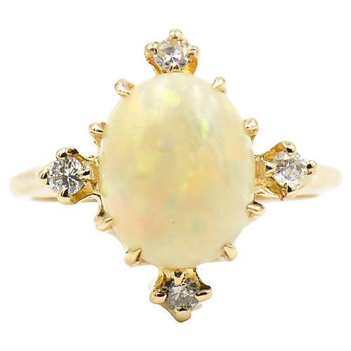 Antique Opal & Diamond Ring