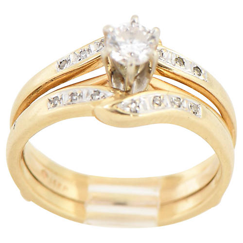 14K Gold & Diamond Solitaire Ring Set