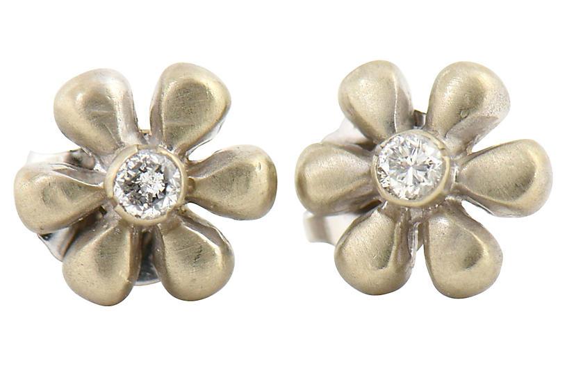 Small Diamond & Gold Flower Earrings