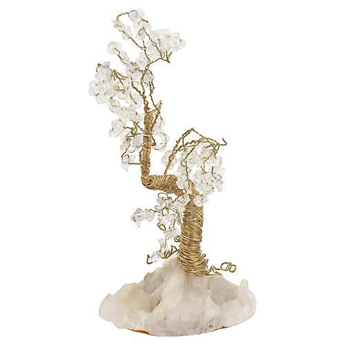 Quartz & Crystal Wire Tree Sculpture