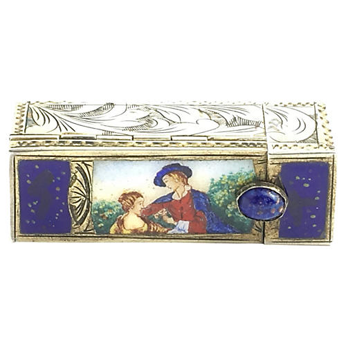 Silver & Enamel Lipstick Case and Mirror