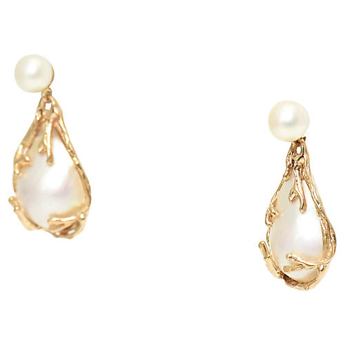 Mabe Pearl & 14K Gold Earrings