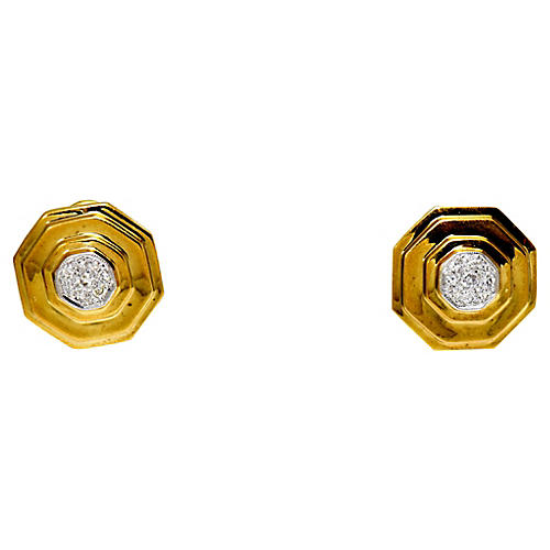 Geometric 14K Gold & Diamond Earrings