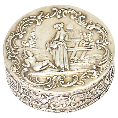German Silver Repoussé Trinket Box