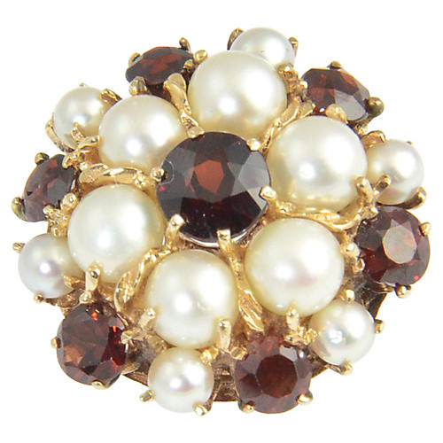 1950s Garnet & Pearl Gold Dome Ring