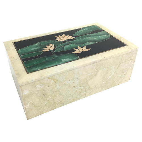 Inlaid Stone Lily Pad Box