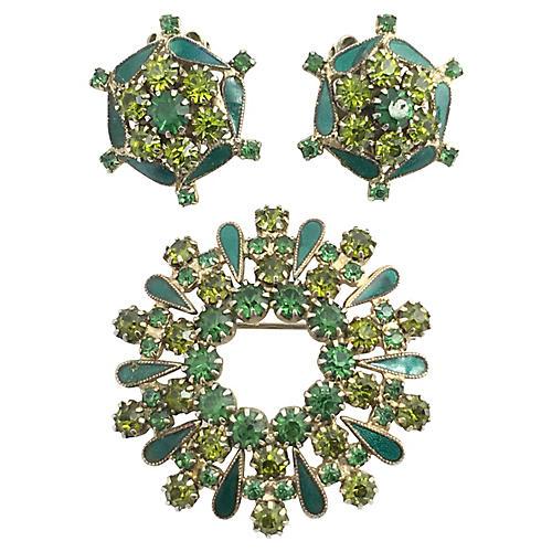 Weiss Rhinestone Earrings & Brooch
