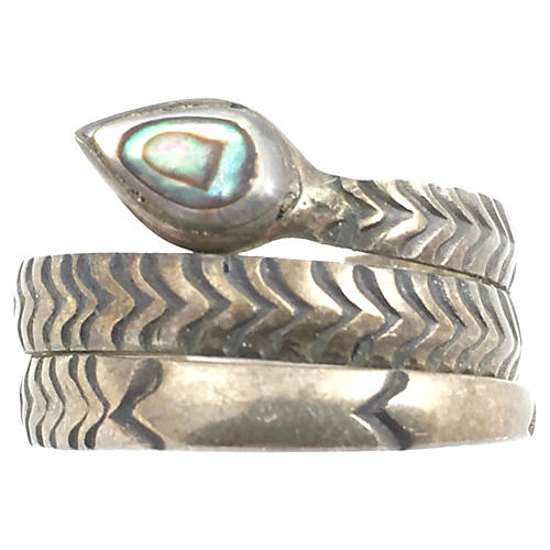 Sterling & Abolone Shell Snake Ring