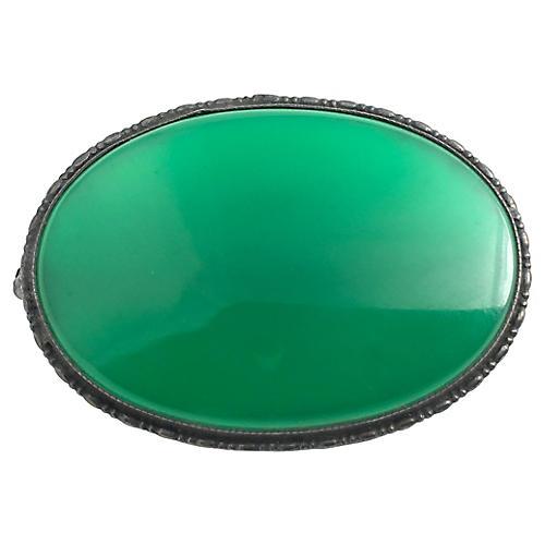 Sterling & Green Glass Brooch