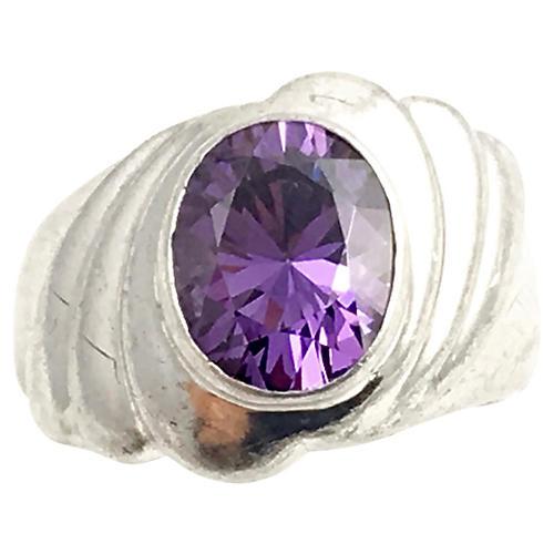 Freeform Sterling & Purple CZ Ring