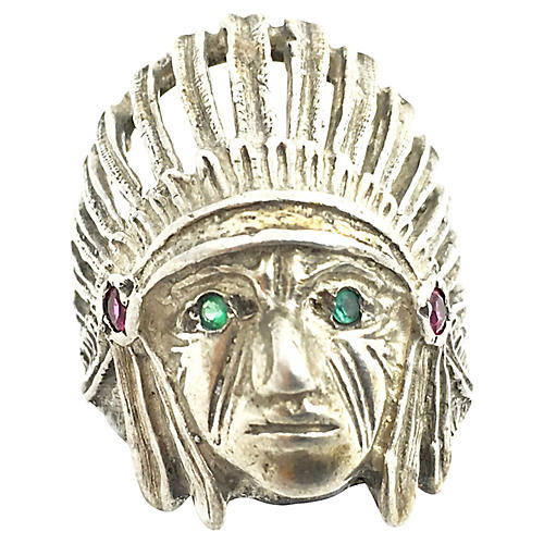Sterling Silver Indian Chief Head Ring