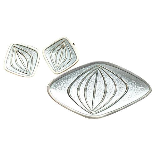 Modernist Hjortdahl Silver Earring & Pin
