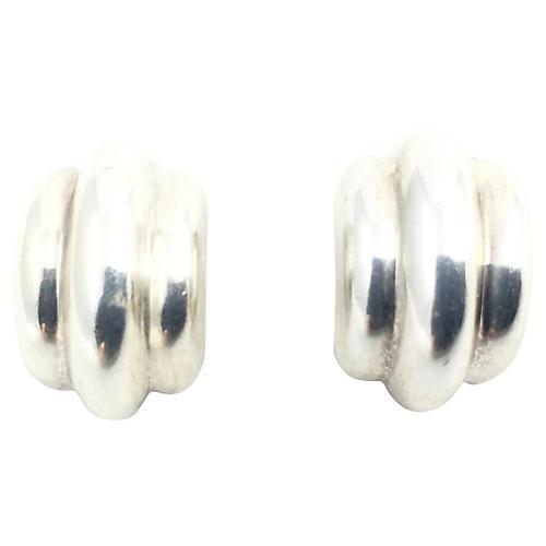 Ribbed Sterling Hoop Earrings
