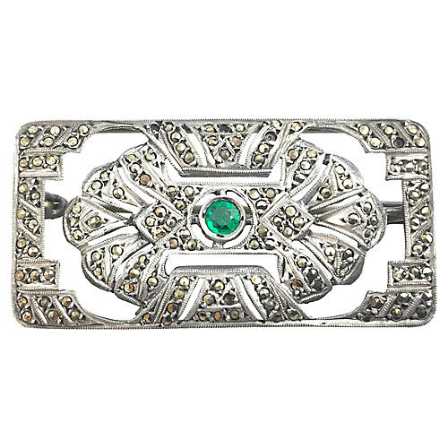 Art Deco Marcasite & Green Stone Brooch