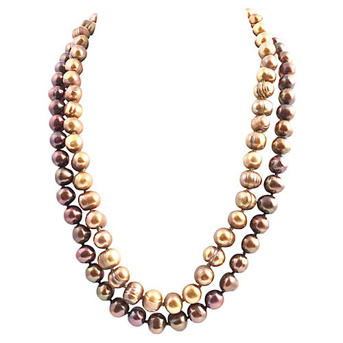 Golden Cultured Pearl Necklaces, S/2