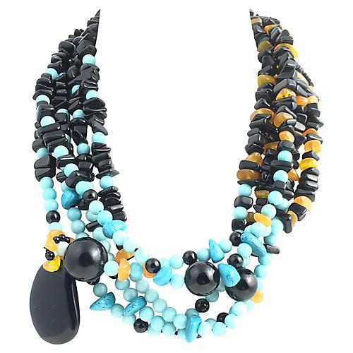 5-Strand Onyx Amber & Turquoise Necklace