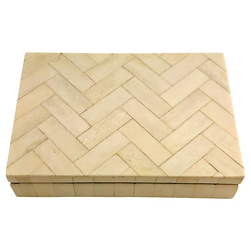 Zig Zag Tessellated Bone Decorative Box