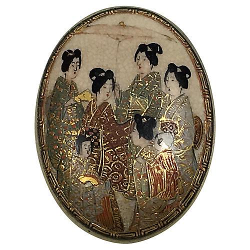 Antique Japanese Geisha Porcelain Brooch