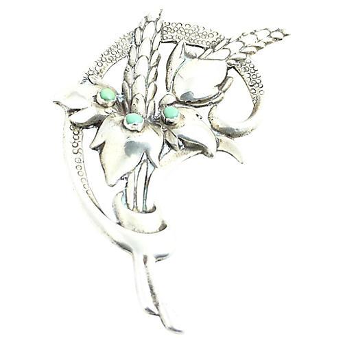 Sterling Flower Bouquet Brooch