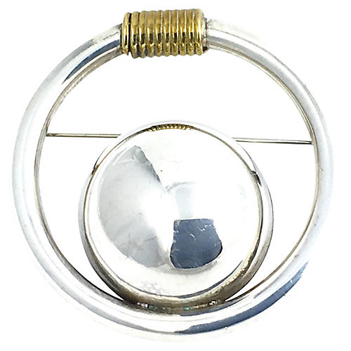 Moderist Sterling & Brass Circle Brooch