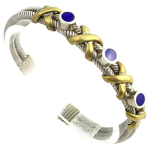 Sterling, Brass & Enamel Bracelet