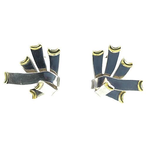 Mexican Spray Sterling & Brass Earrings