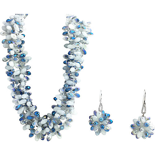 Faceted Blue Crystal Necklace & Earrings