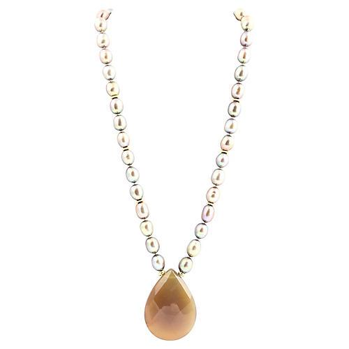 L. Bergman Pearl & Quartz Necklace