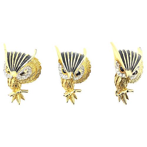 Jomaz Jeweled Owl Brooches, S/3