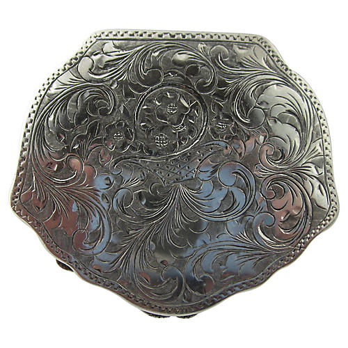 Italian Engraved Silver Compact