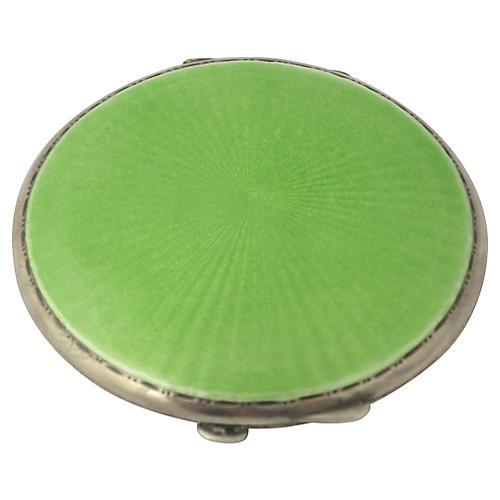 Art Deco Green Enamel Sterling Compact
