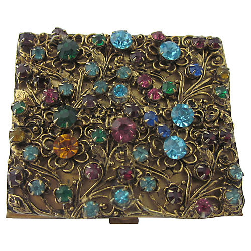 Floral Rhinestone & Gilt Compact