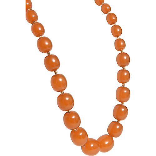 Amber & 14k Gold Bead Necklace