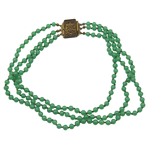 Antique Green Chalcedony Necklace