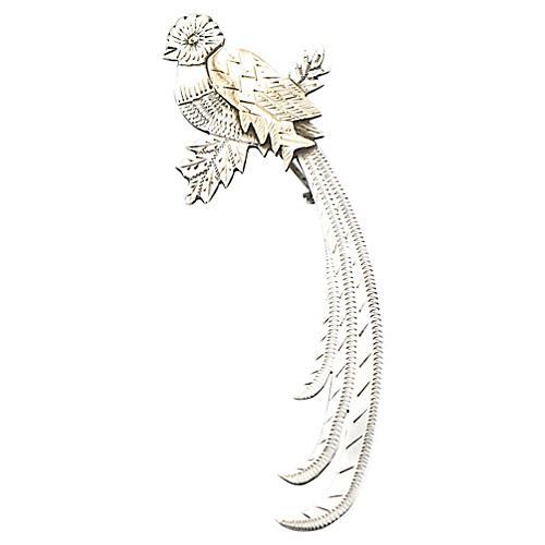 Stylized Silver & Gold Bird Brooch